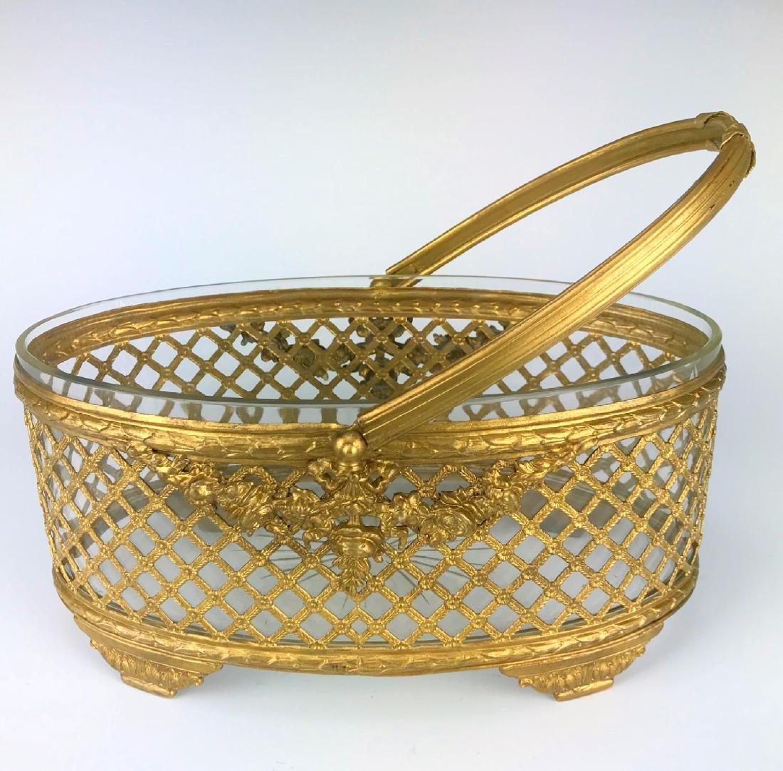 19th C. Bronze & Baccarat Crystal Basket/Centerpiece - 4