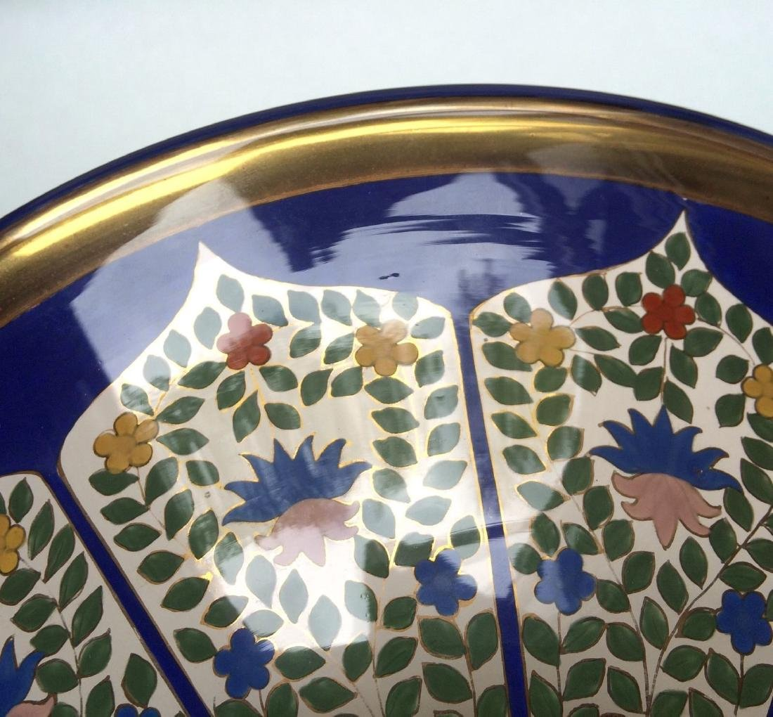 "Fine Bohemian 12"" Persian Style Enameled Glass Bowl - 10"