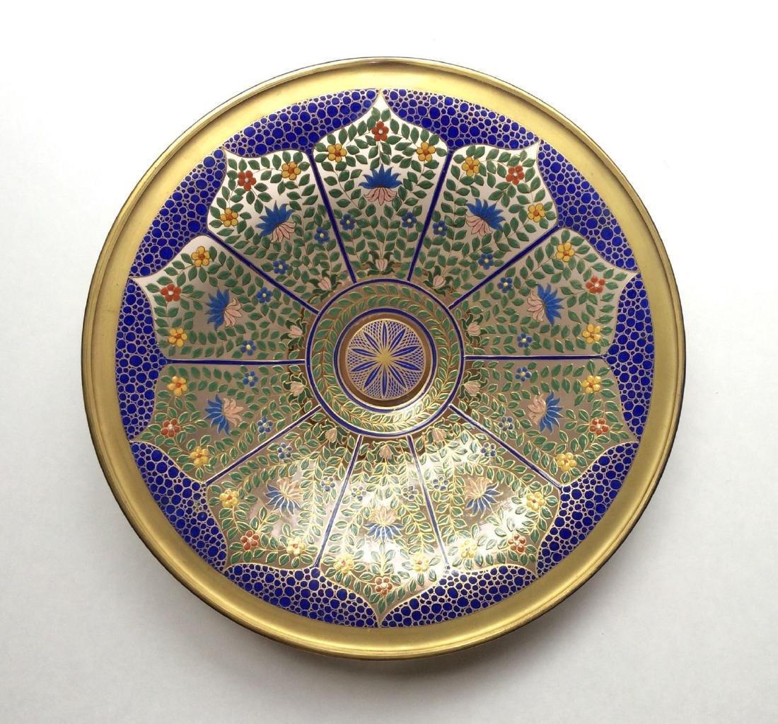 "Fine Bohemian 12"" Persian Style Enameled Glass Bowl"