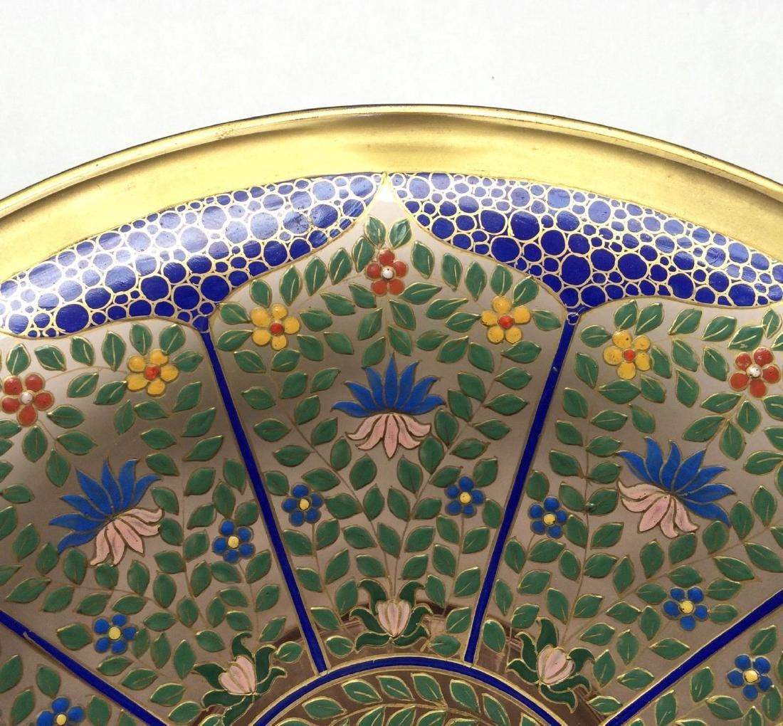 "Fine Bohemian 12"" Persian Style Enameled Glass Bowl - 3"