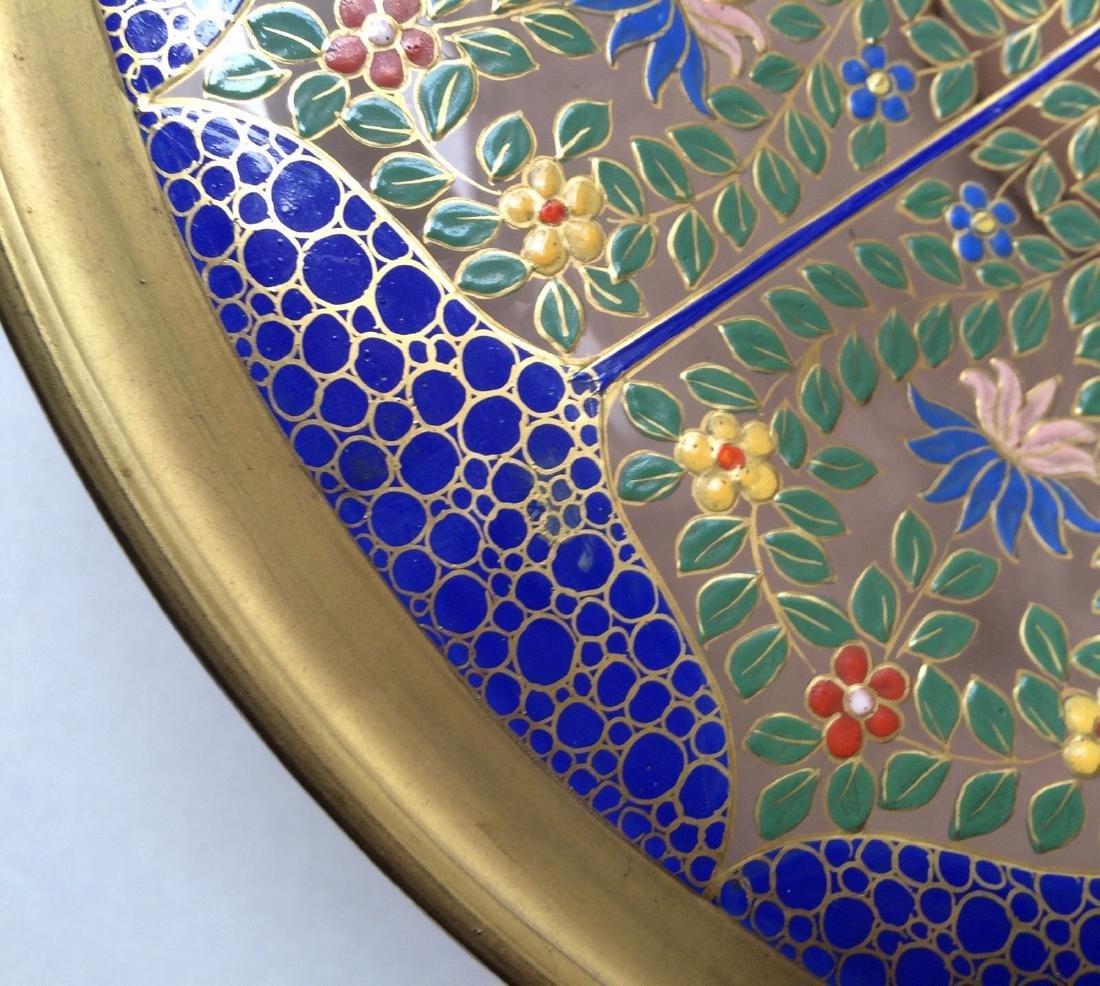 "Fine Bohemian 12"" Persian Style Enameled Glass Bowl - 4"