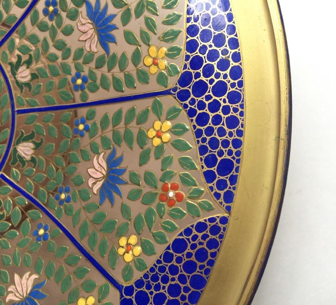 "Fine Bohemian 12"" Persian Style Enameled Glass Bowl - 5"