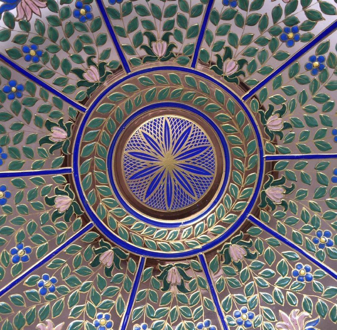 "Fine Bohemian 12"" Persian Style Enameled Glass Bowl - 6"
