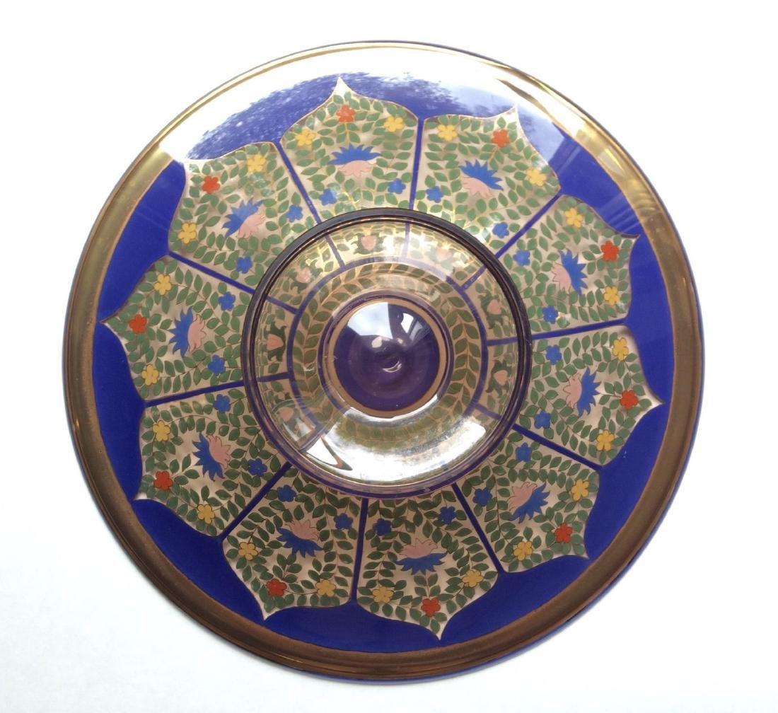 "Fine Bohemian 12"" Persian Style Enameled Glass Bowl - 8"