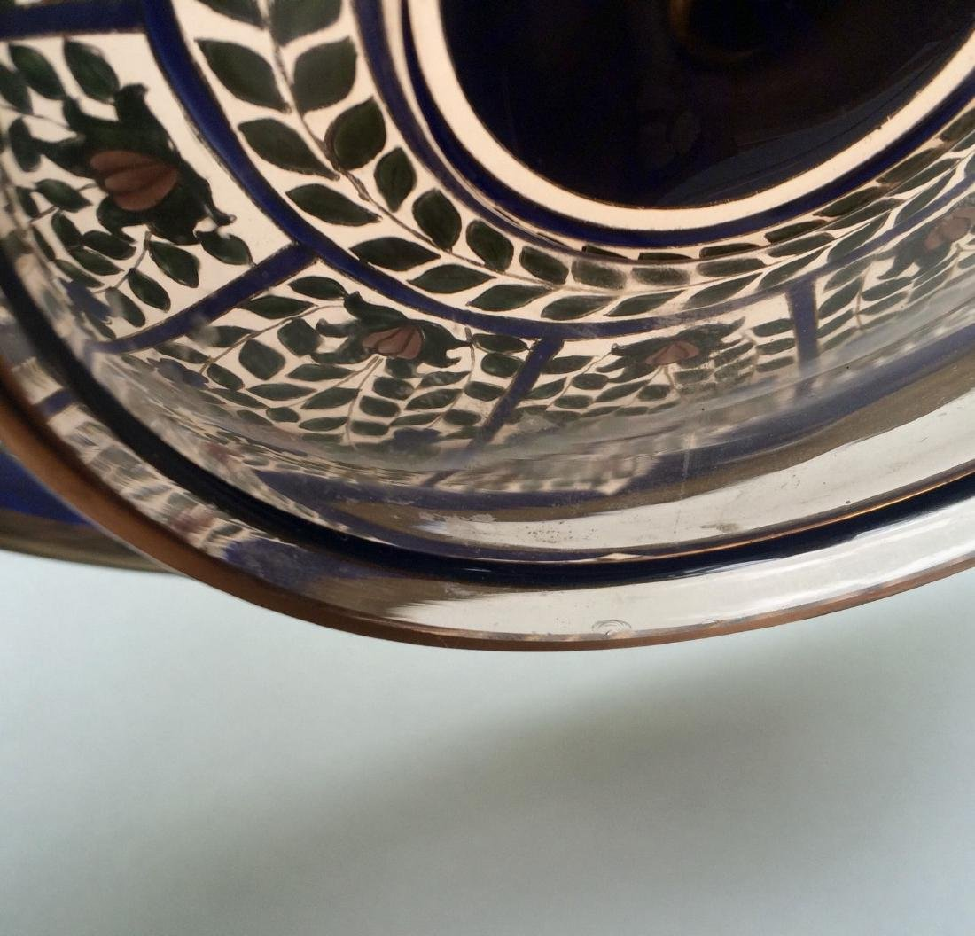 "Fine Bohemian 12"" Persian Style Enameled Glass Bowl - 9"
