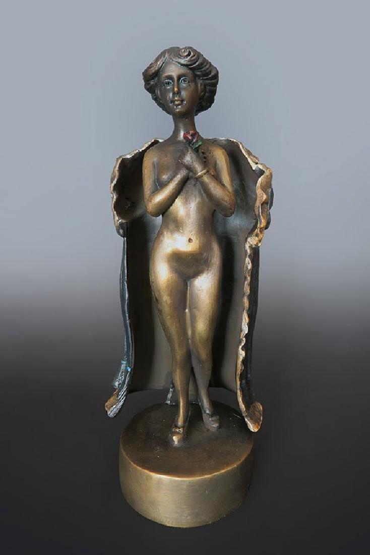 19th C. Enameled Bronze Viennese Figurine