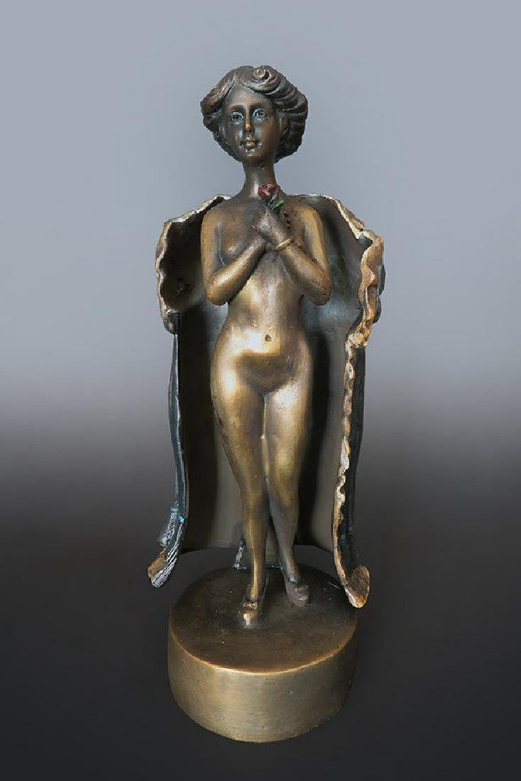 19th C. Enameled Bronze Viennese Figurine