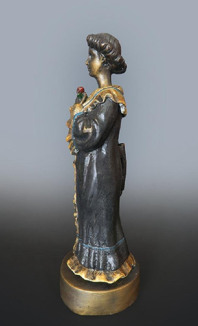 19th C. Enameled Bronze Viennese Figurine - 2