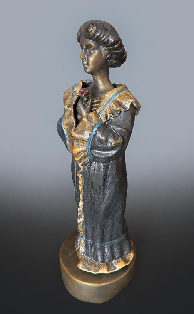 19th C. Enameled Bronze Viennese Figurine - 4