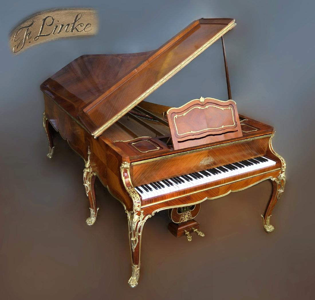 F. Linke Bronze Mounted Kingwood Erard Grand Piano
