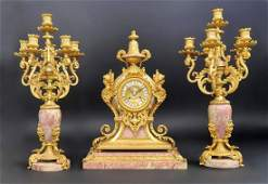 Beautiful 19th C. Bronze & Rouge Marble Clock Set