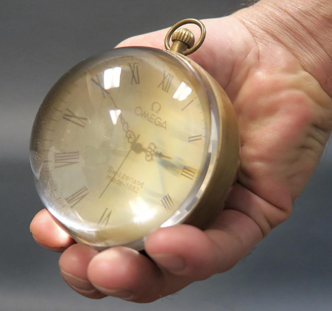 20th C. Omega Crystal Ball Manual Desk Clock