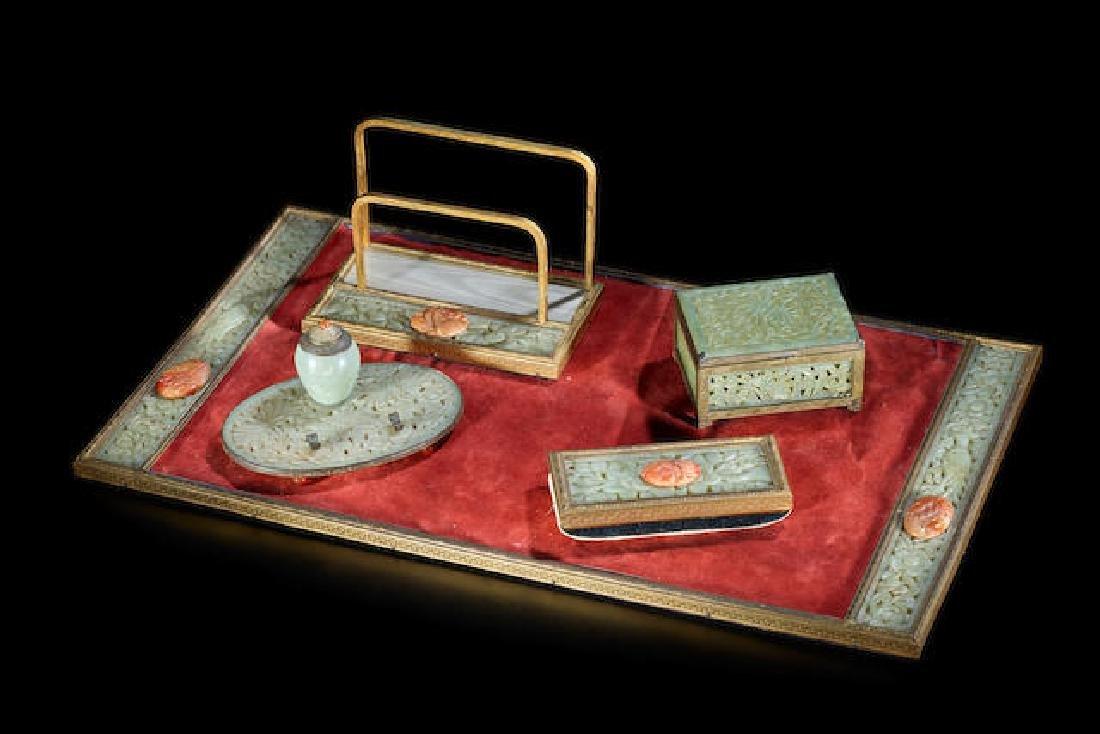 Chinese Five Piece Hardstone Jade Carnelian Desk Set