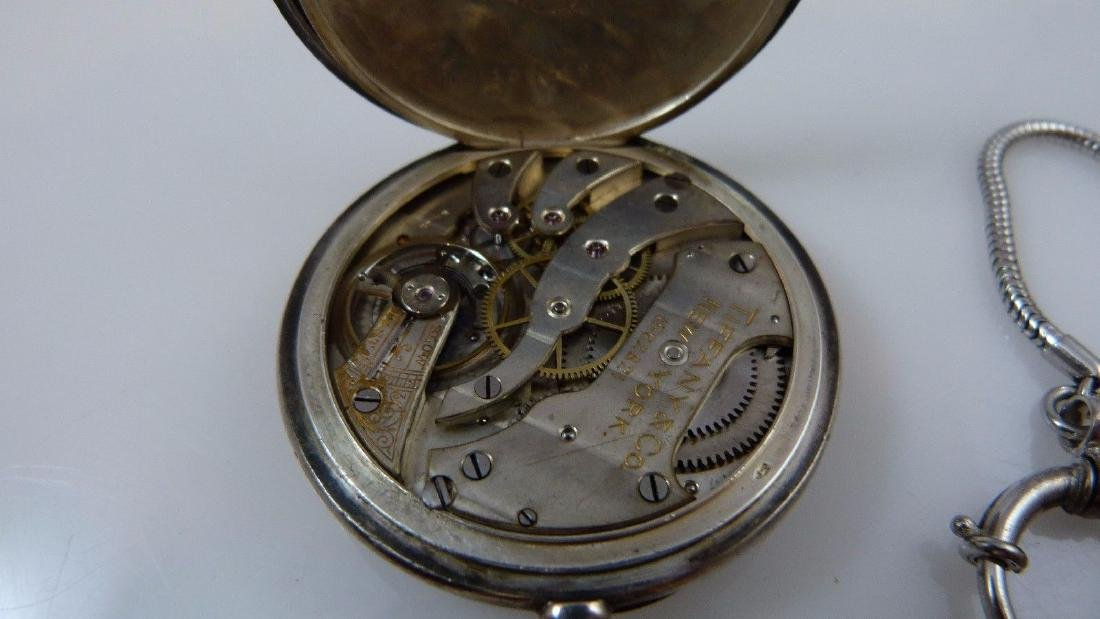 """Tiffany & Co"" Pocket Watch 935 Sterling Silver - 8"