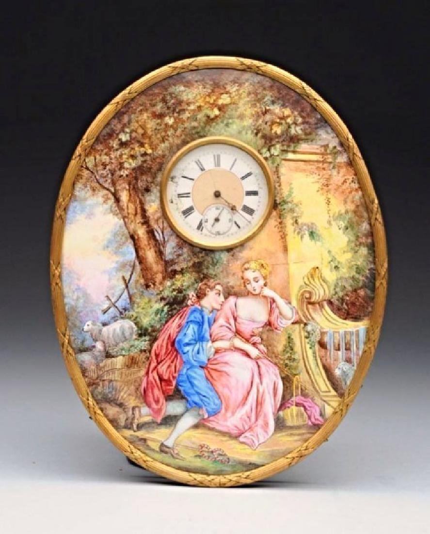 Viennese Enamel Clock (Austrian) 19th Century