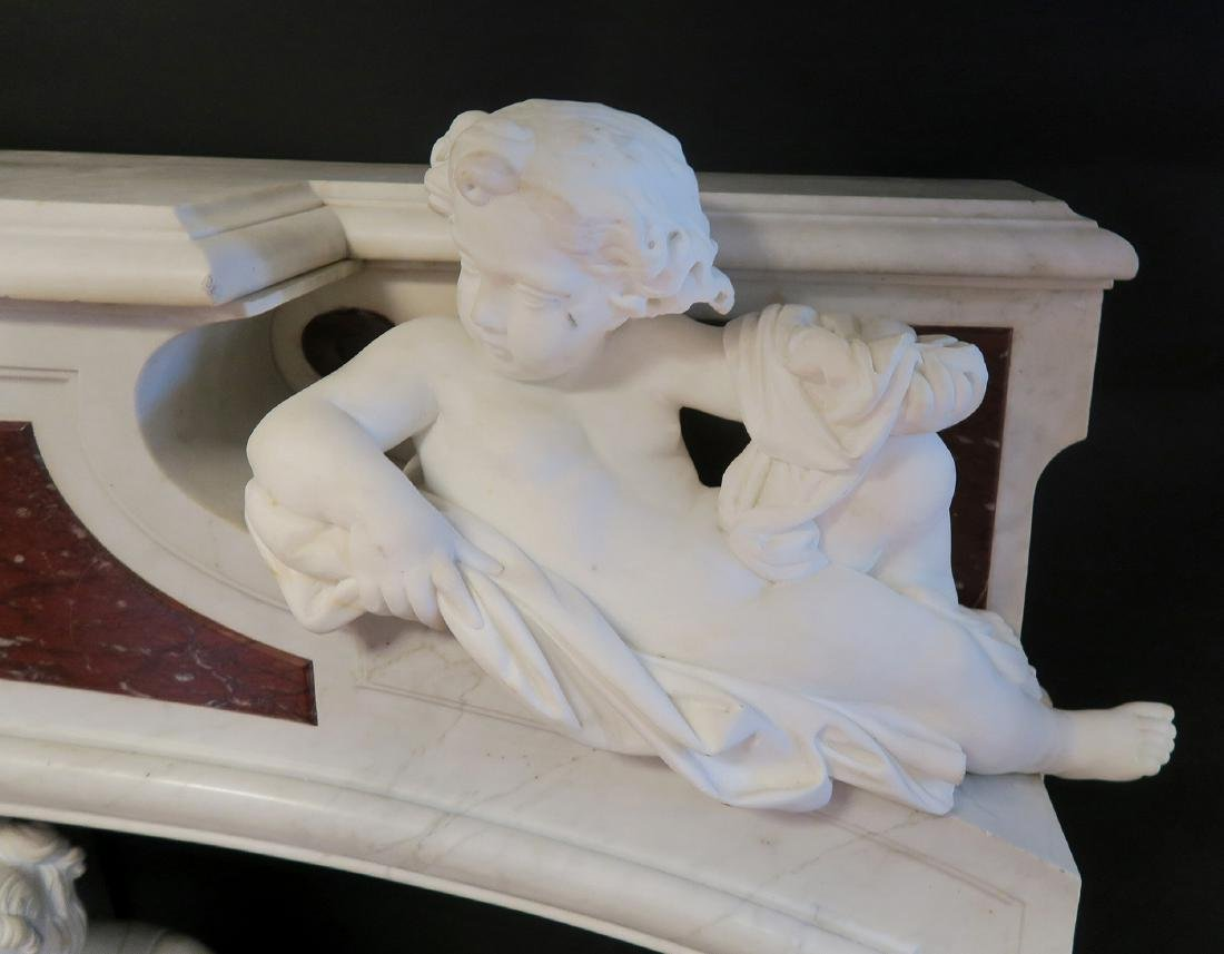 19th C. Grand Figural Marble Fireplace Mantel - 4