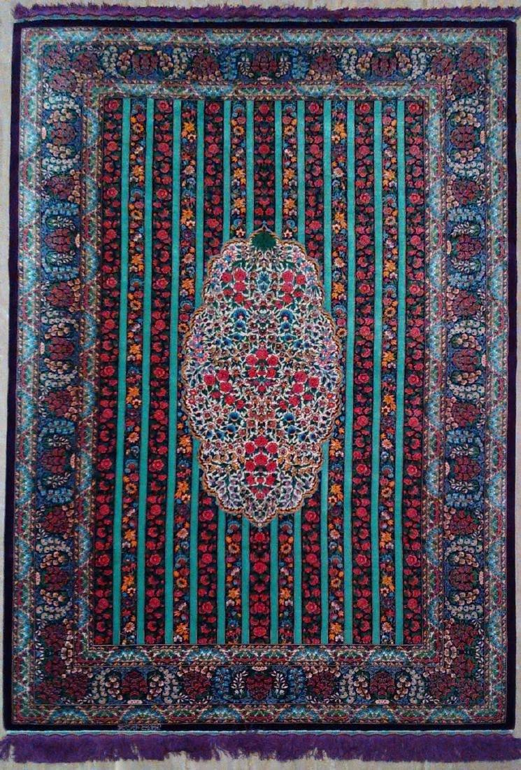 Fine 100% Silk Persian Rug from Qom. Signed