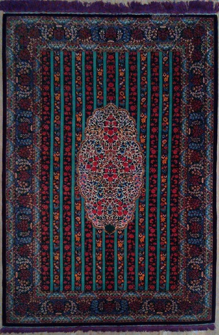 Fine 100% Silk Persian Rug from Qom. Signed - 2