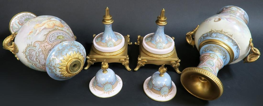Large Pair of 19th C. Bronze-Mounted Sevres Vases - 6