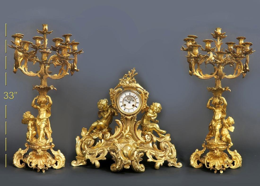 Very large 19th C. Figural Bronze Clock Set