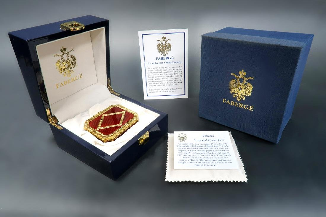 FABERGE Red Guilloche Enamel & Gilt Pill Box