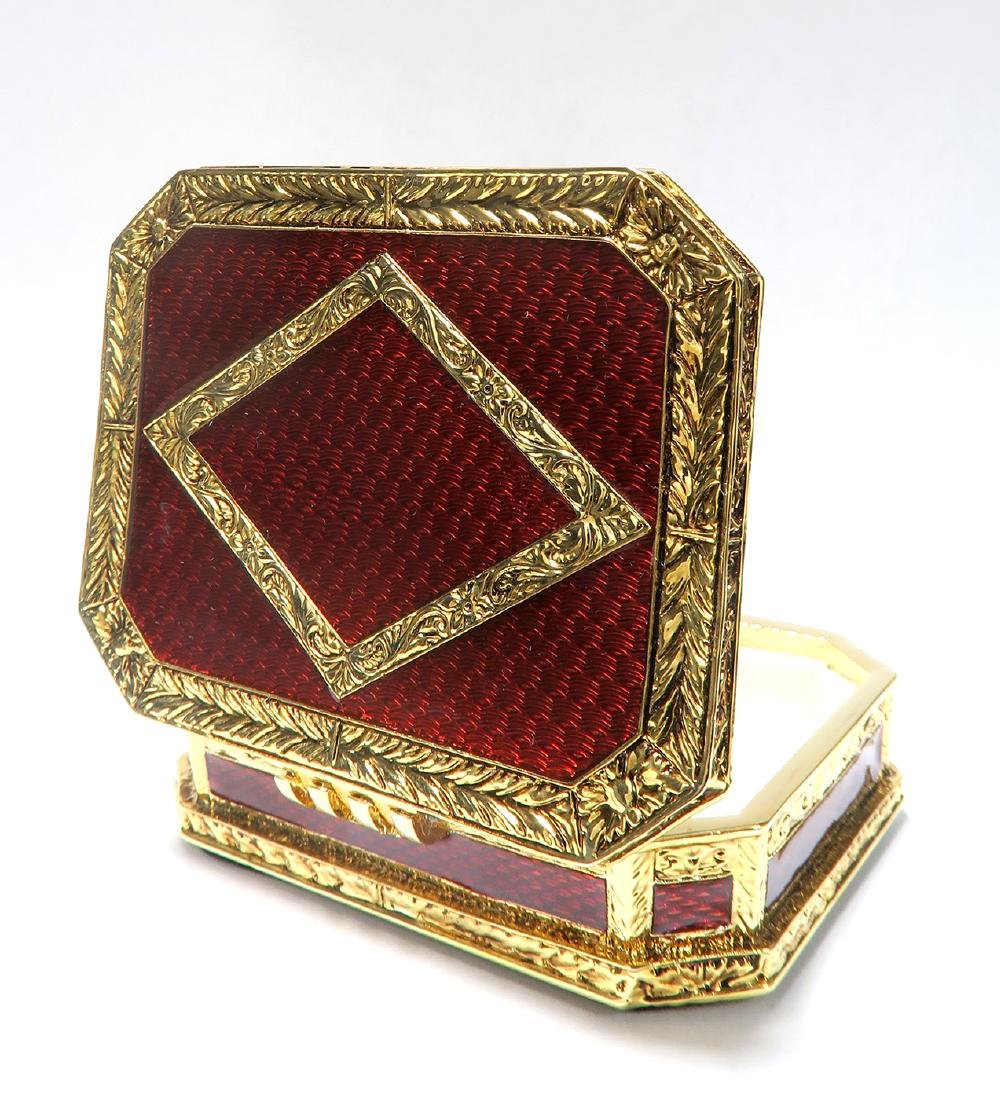 FABERGE Red Guilloche Enamel & Gilt Pill Box - 3