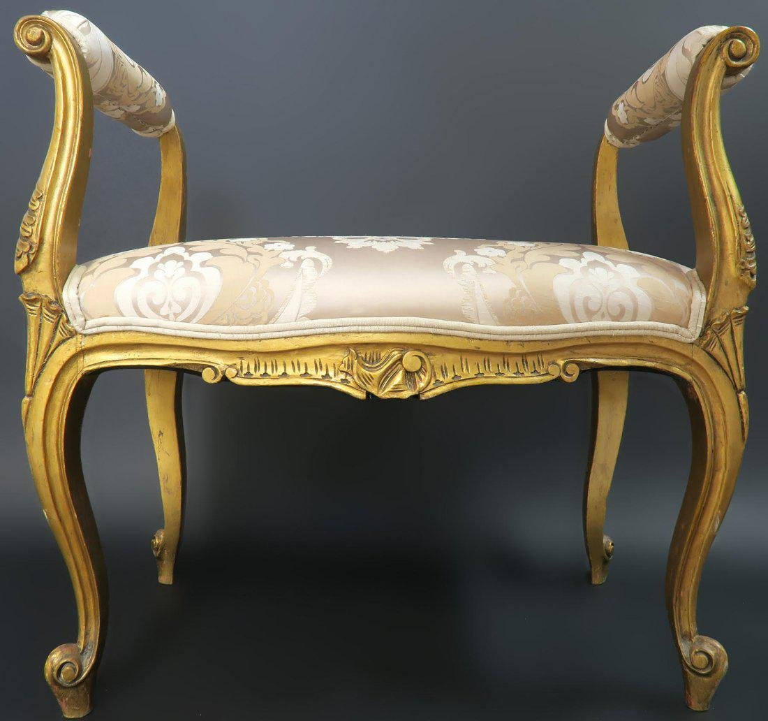 French Louis XVI style Patinated Upholstered Bench - 2