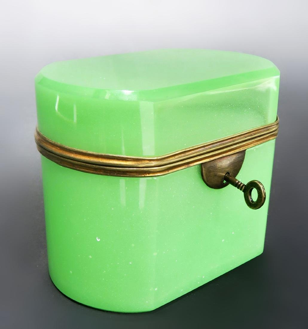 19th C. Green Opaline Box With Key