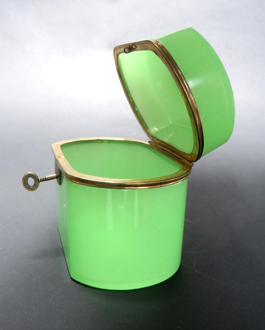 19th C. Green Opaline Box With Key - 3