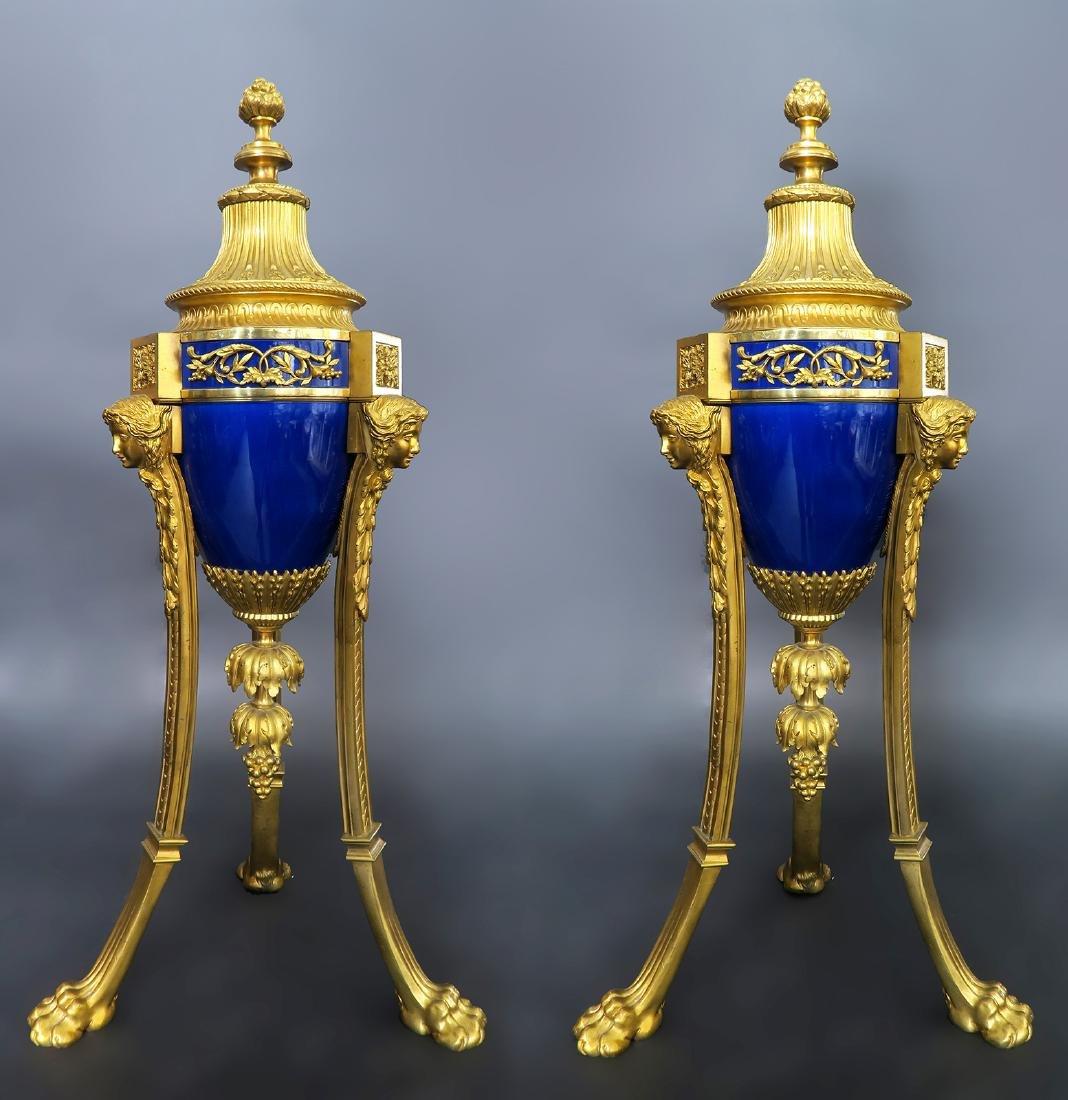 Louis XVI Style Gilt Bronze Mounted Blue Ceramic Urns - 2