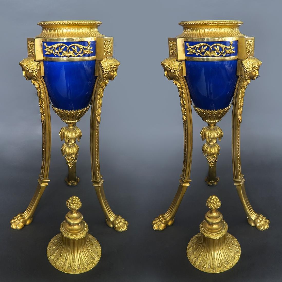 Louis XVI Style Gilt Bronze Mounted Blue Ceramic Urns - 3