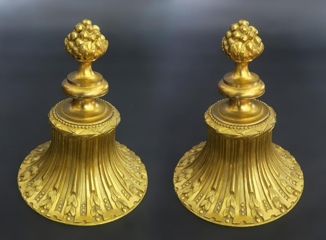 Louis XVI Style Gilt Bronze Mounted Blue Ceramic Urns - 4