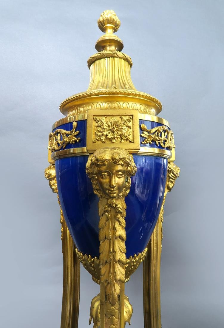 Louis XVI Style Gilt Bronze Mounted Blue Ceramic Urns - 5
