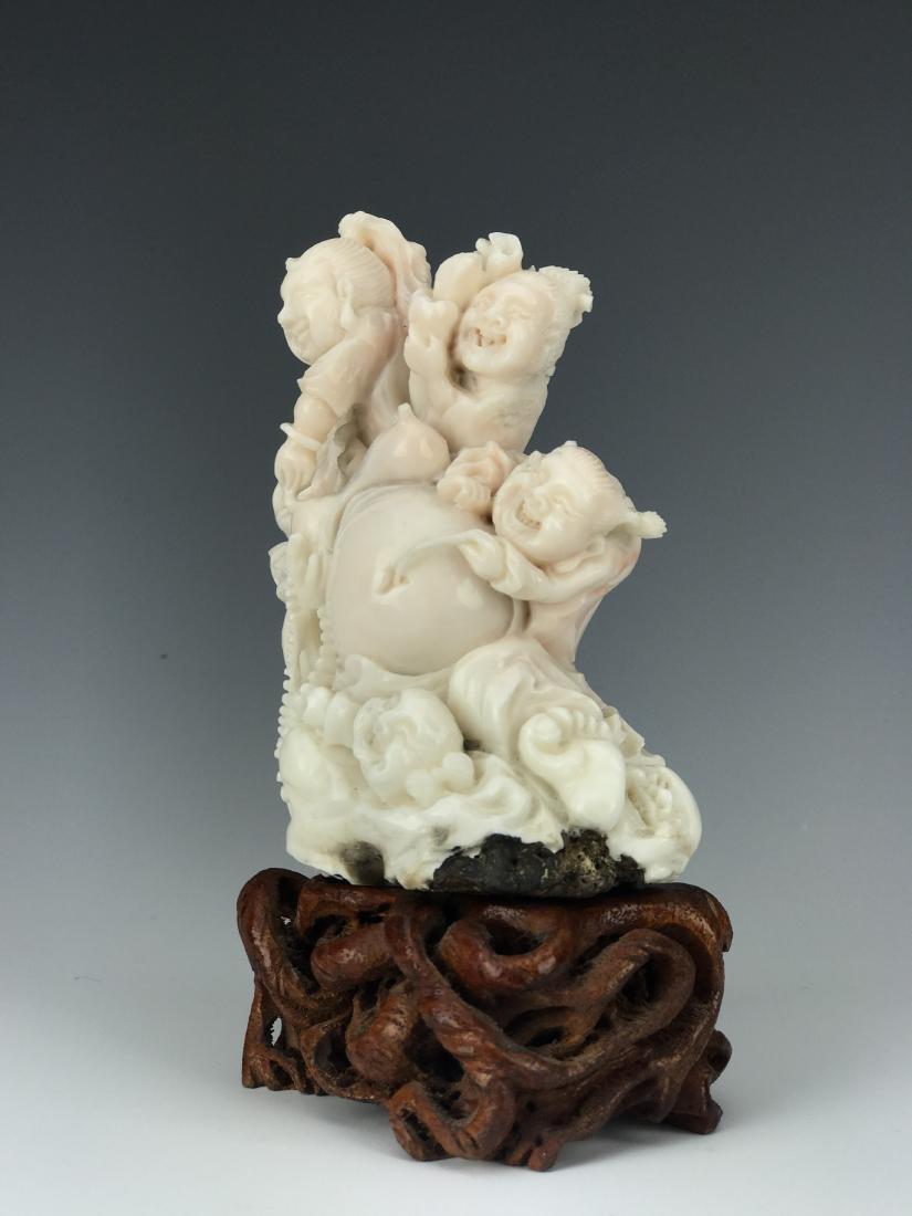 Chinese Coral Carved Figural Buddha Group - 2