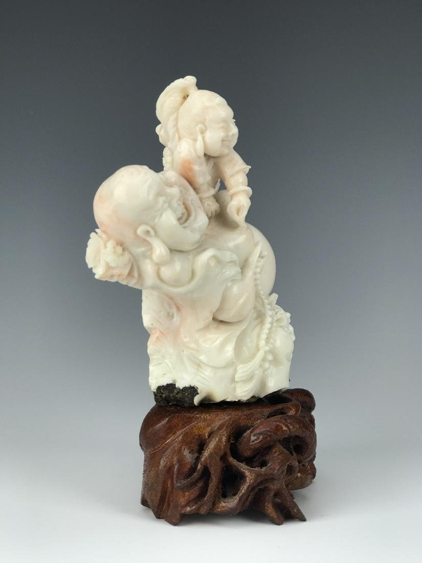 Chinese Coral Carved Figural Buddha Group - 4
