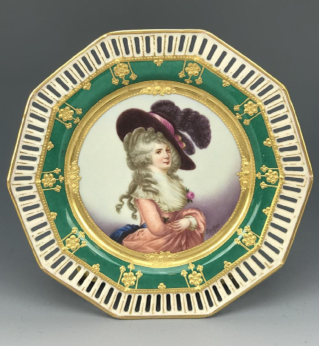 19th C. Dresden Hand Painted Plate