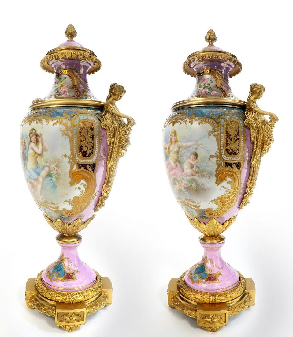A Pair of French Figural Bronze & Sevres Vases - 2