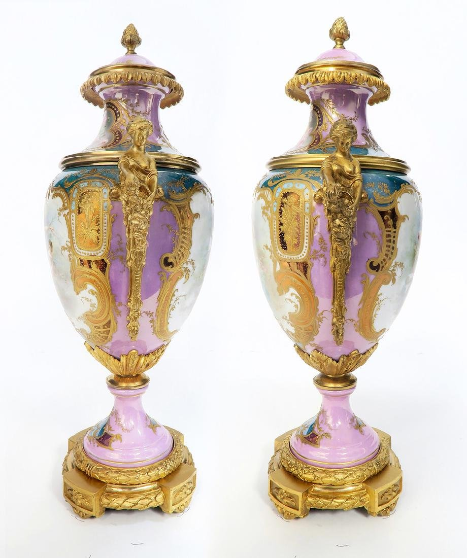 A Pair of French Figural Bronze & Sevres Vases - 3