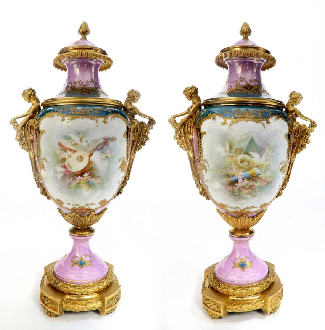 A Pair of French Figural Bronze & Sevres Vases - 4
