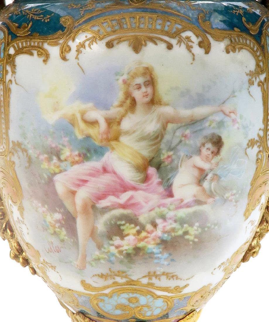A Pair of French Figural Bronze & Sevres Vases - 5