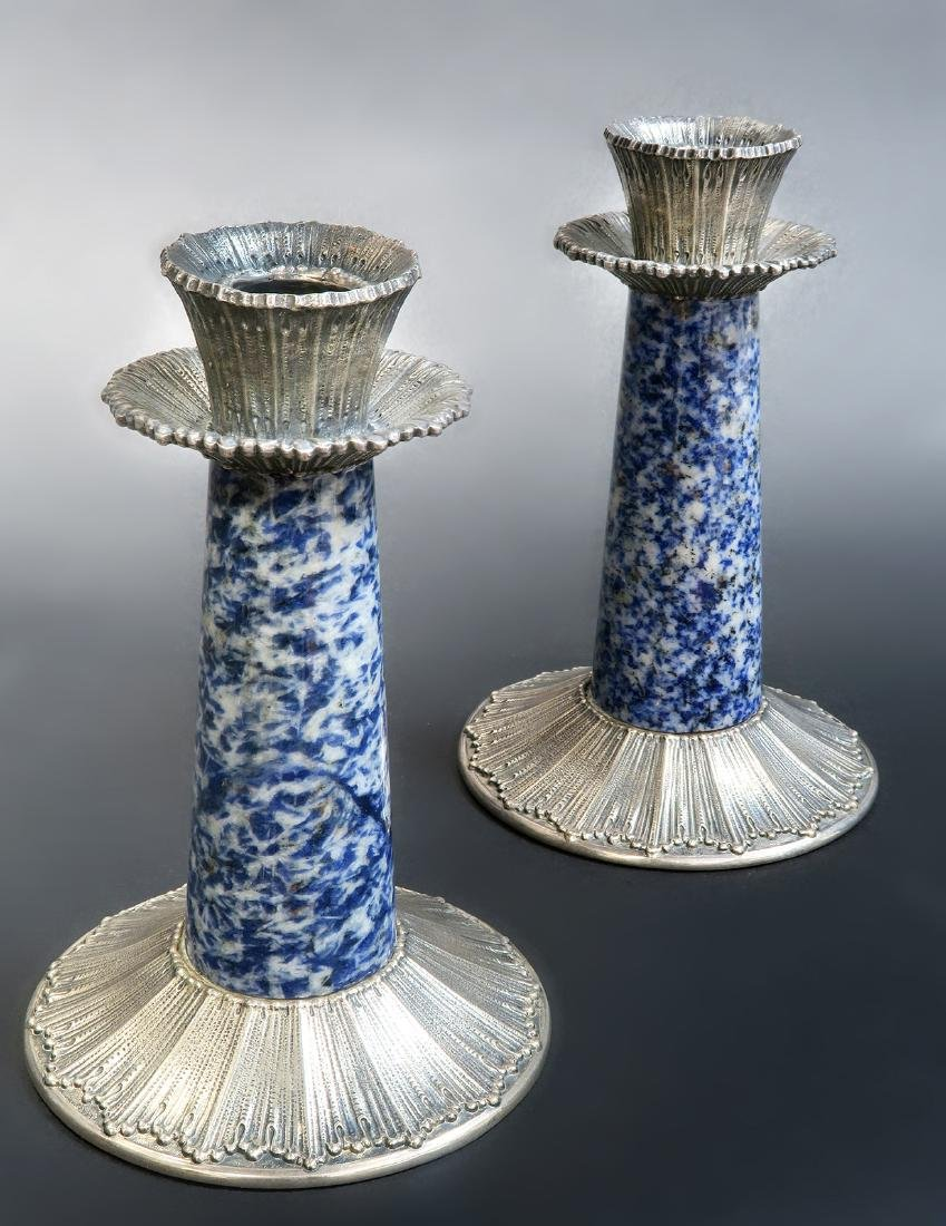 Sterling Silver & Sodalite Buccellati Candle Holders