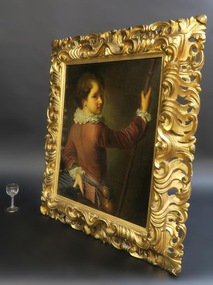 18th C. English Portrait of The Young Boy Oil Painting