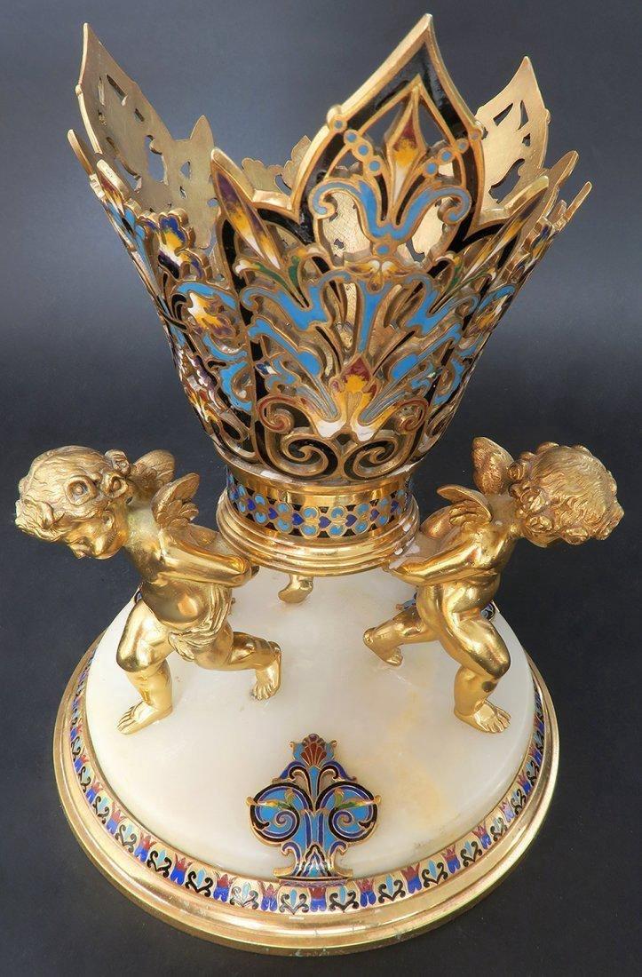 Monumental French Champleve Enamel & Baccarat Vase - 4