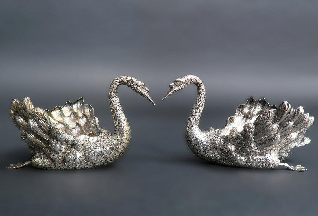 PAIR OF BUCCELLATI STERLING SWAN CENTERPIECES