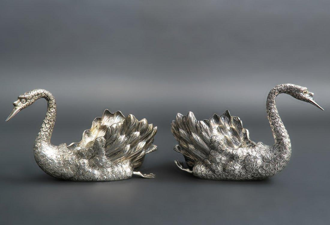 PAIR OF BUCCELLATI STERLING SWAN CENTERPIECES - 2
