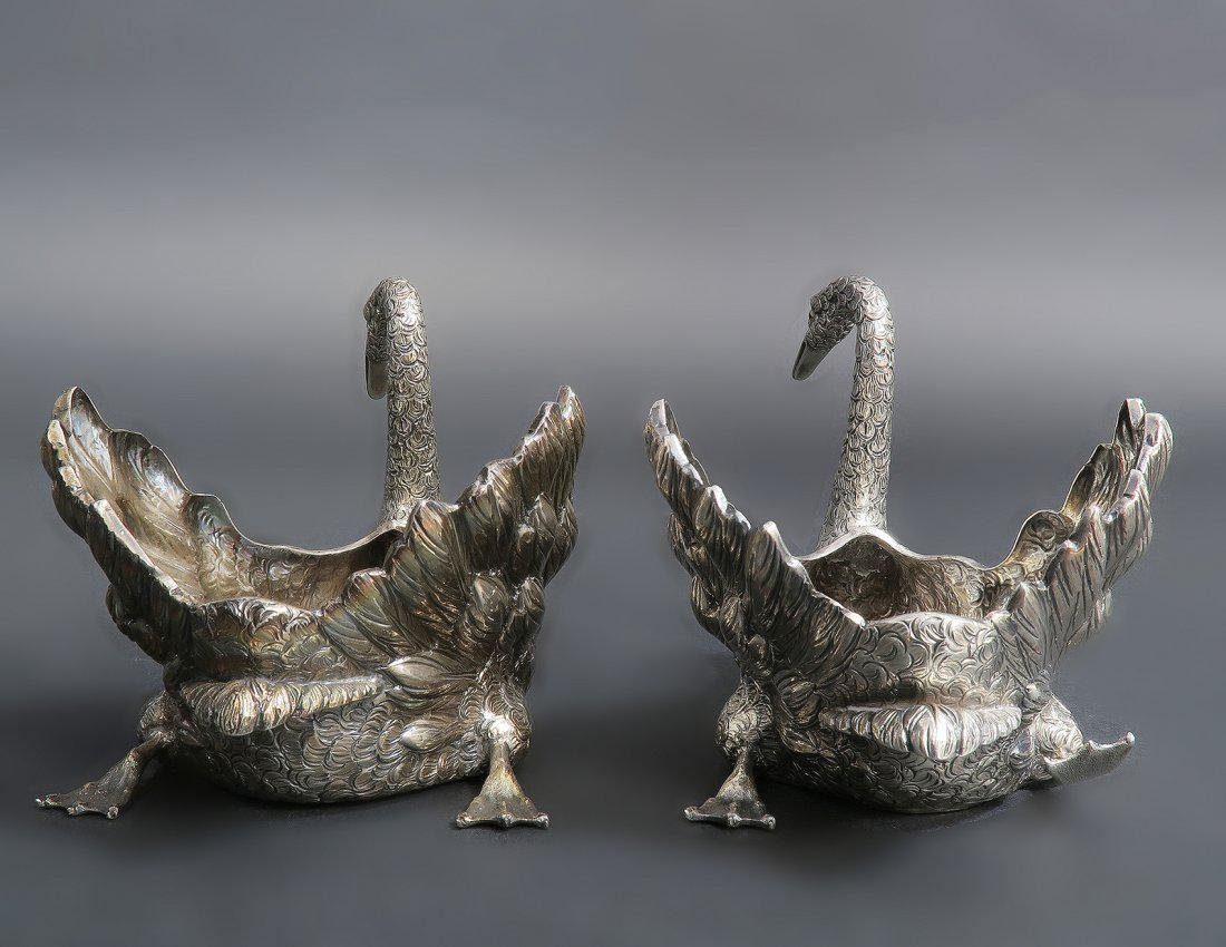 PAIR OF BUCCELLATI STERLING SWAN CENTERPIECES - 3