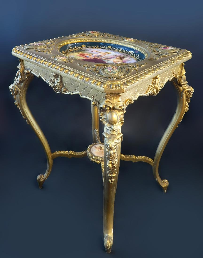 Royal Vienna Gilt wood & Porcelain Side Table - 2