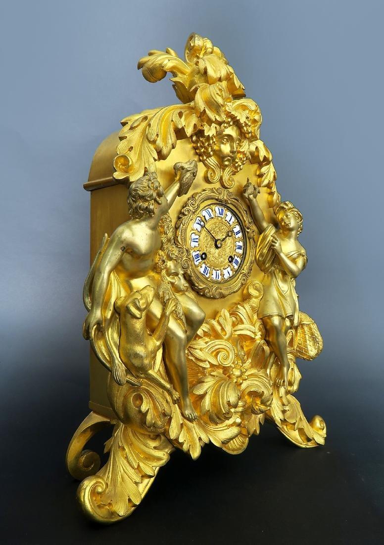 Gilt Bronze mantel French Clock Signed Deniere A Paris - 3