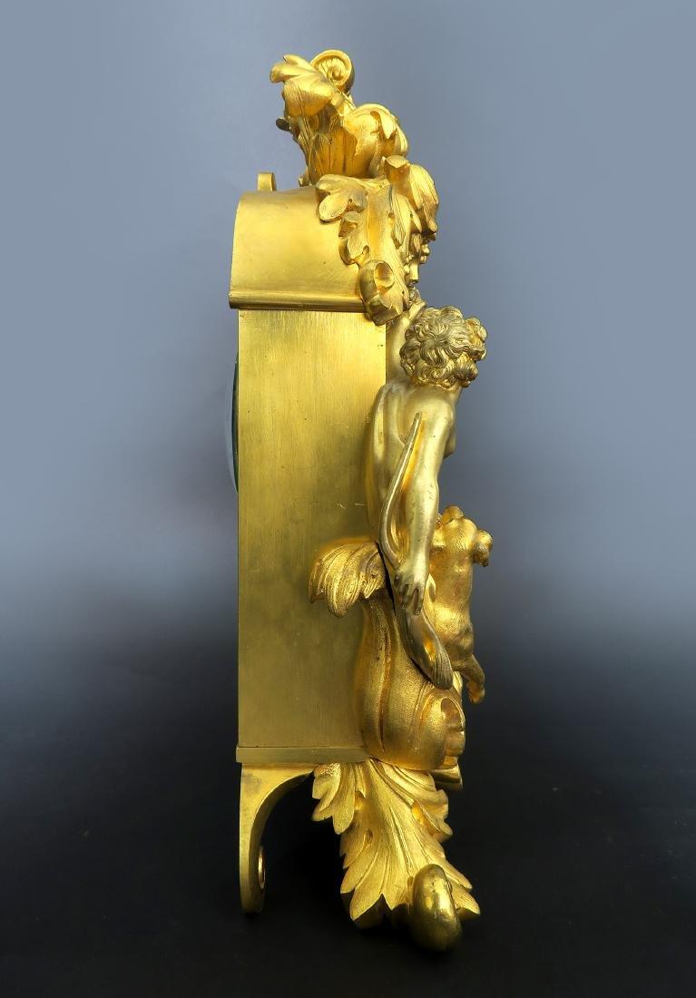 Gilt Bronze mantel French Clock Signed Deniere A Paris - 4