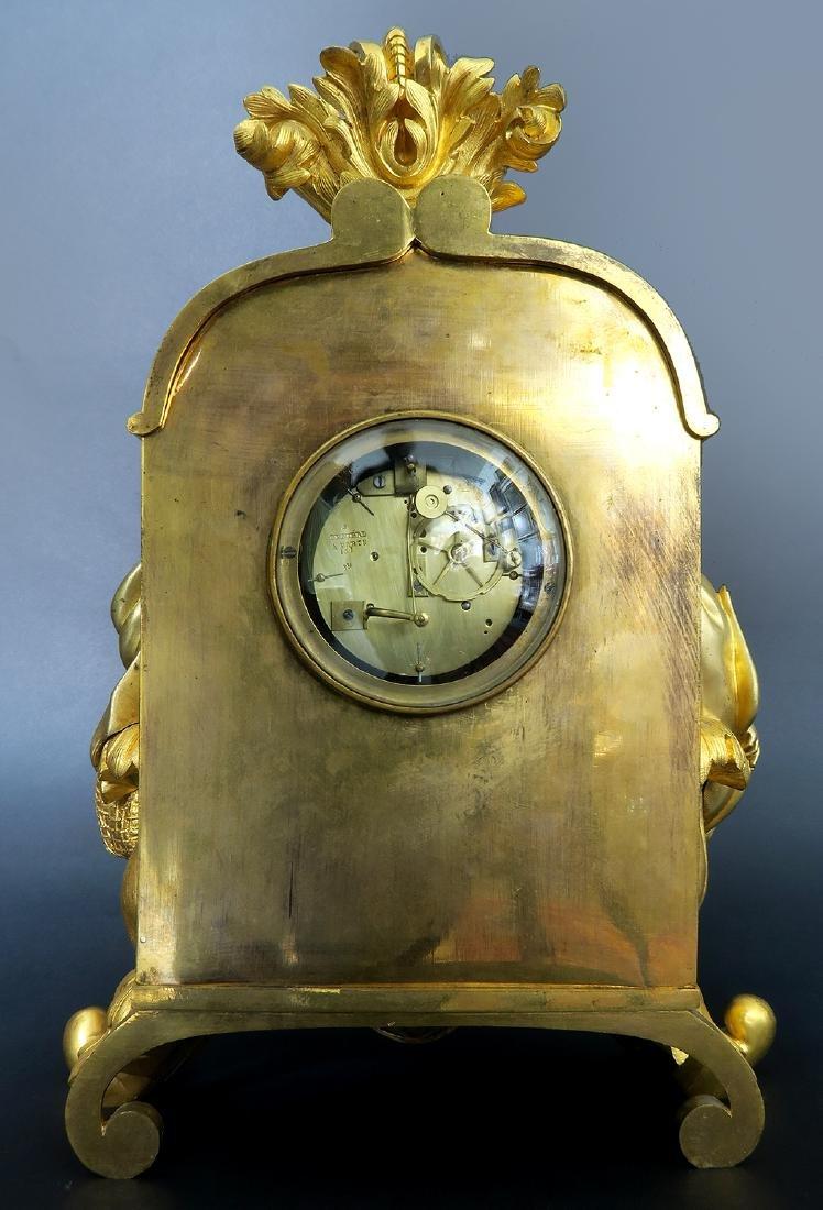 Gilt Bronze mantel French Clock Signed Deniere A Paris - 5